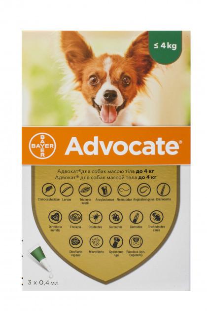 АДВОКАТ для собак до 4 кг ADVOCATE капли от блох клещей глистов, 1 пипетка