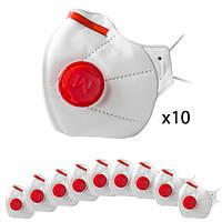 Комплект масок респираторных с клапаном, 10шт. Микрон FFP3
