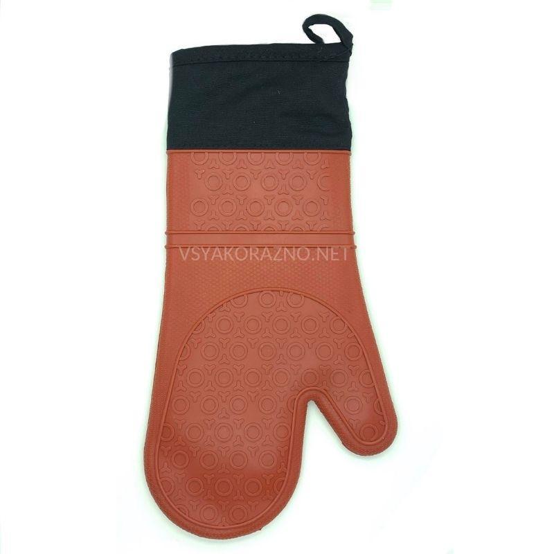 Рукавица-прихватка силиконовая с текстильным манжетом / Рукавиця-прихватка силіконова (коричневый)
