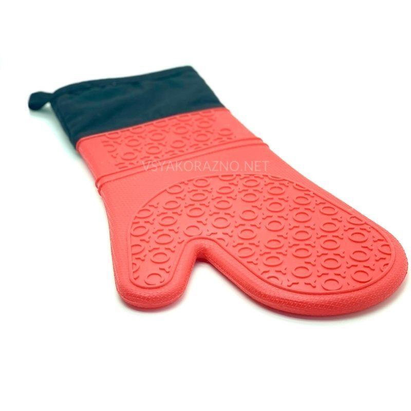 Рукавица-прихватка силиконовая с текстильным манжетом / Рукавиця-прихватка силіконова (красный)