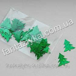 Пайетки плоские Ёлочки зеленые голограмма, 2г