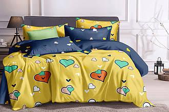 Комплект постельного белья полуторный из сатина Сердечки на желтом 147х217 см