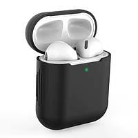 Силиконовый чехол для наушников Apple AirPods 1 / 2 Black, Черный
