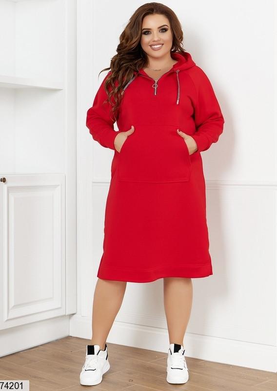 Р. 48-66 Женское платье худи из трехнитки на флисе больших размеров