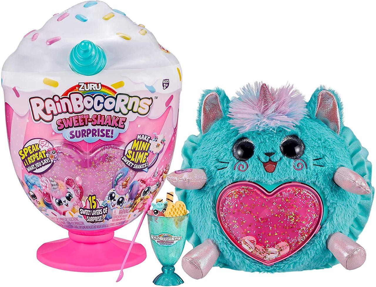 Інтерактивна м'яка іграшка Котик 15 сюрпризів ZURU Rainbocorns Plush Sweet Shake Surprise