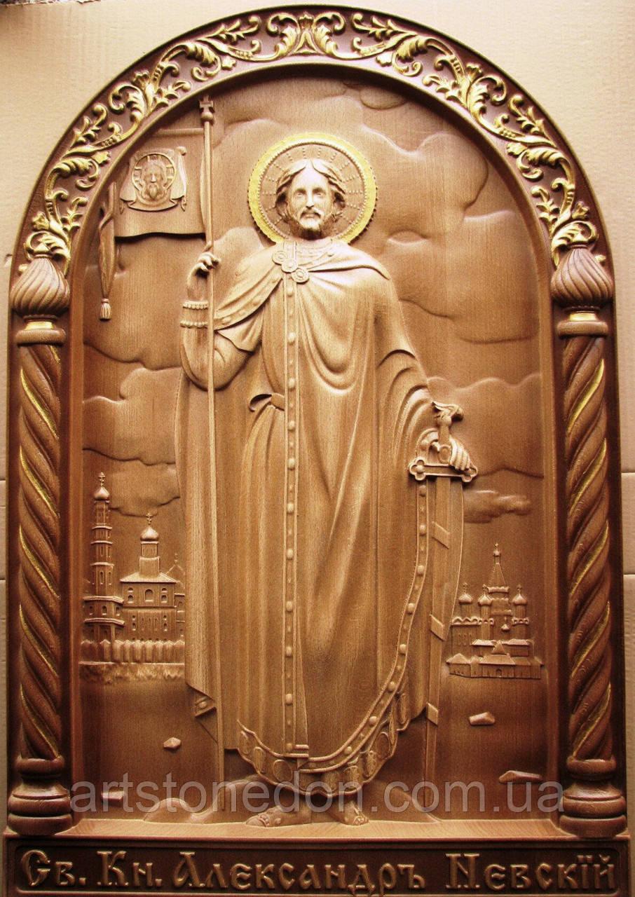 Икона резная Святой Александр Невский
