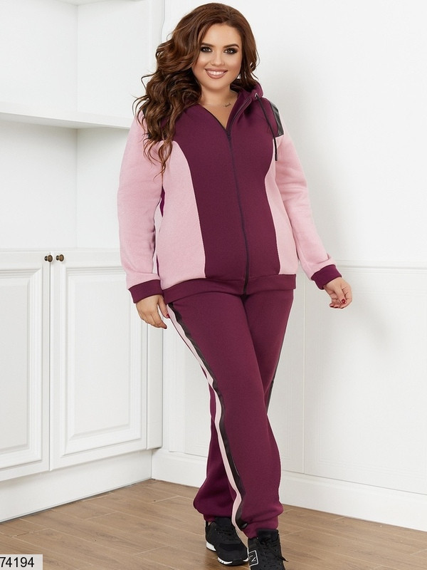 Р. 48-66 Женский теплый спортивный костюм из трехнитки на флисе батал бордовый/розовый