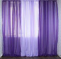 Шторы для спальни, зала, гостиной, кухни. Готовая шифоновая гардина. Цвет фиолетовый с сиреневым. Код 002дк