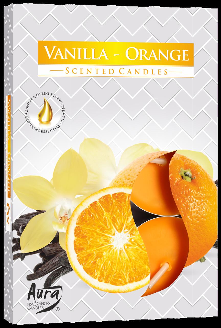 Ароматические свечи таблетки 6шт/уп Bispol №P15-37 Ваниль-Апельсин