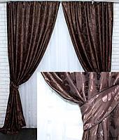 """Шторы в спальню, зал, гостиную. Комплект готовых портьер. Жаккард """"Лион"""". Цвет венге. Код 530ш"""