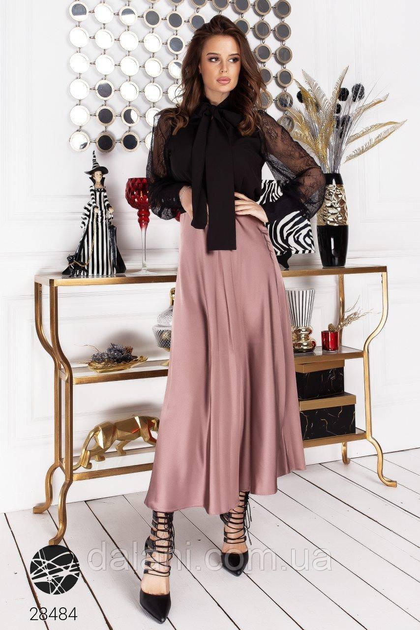 Женская шелковая розовая юбка миди