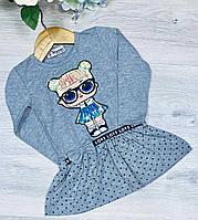 Детское трикотажное платье, размер 1-4 года (4 ед. в уп. ), Серый