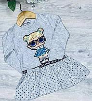 Детское трикотажное платье, размер 1-4 года (4 ед. в уп. ), Светло-серый