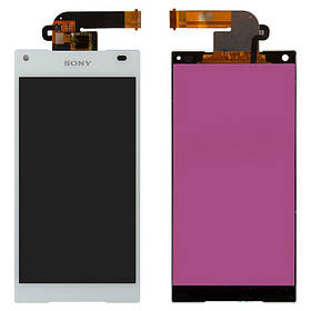 Дисплей (экран) для Sony E5823 Xperia Z5 Compact с сенсором (тачскрином) белый Оригинал
