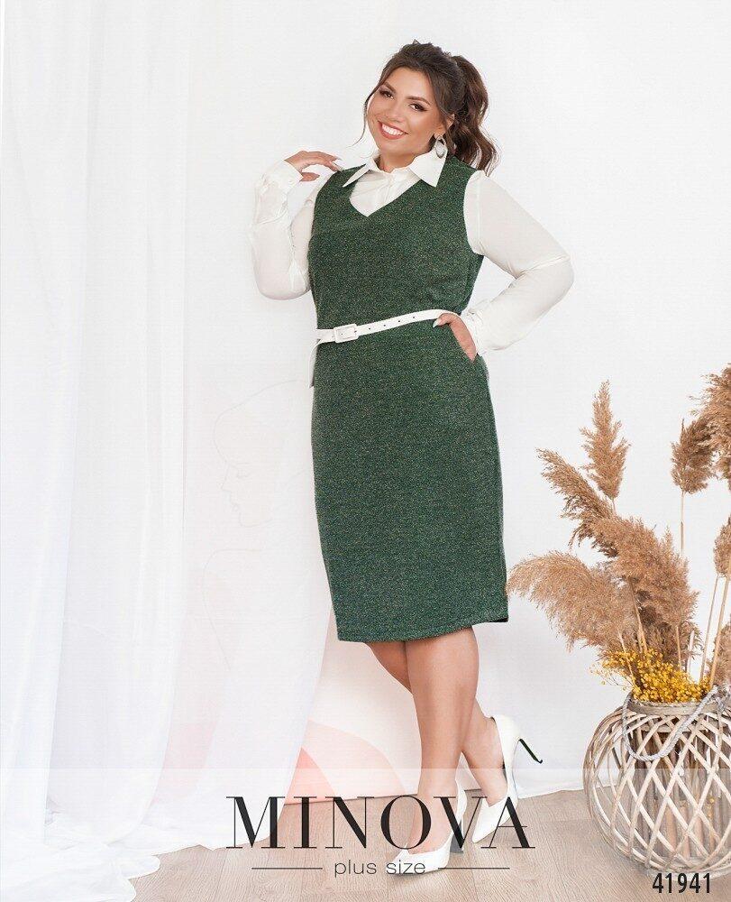 "Эффектный женский костюм-двойка (Рубашка+Сарафан) ткань ""Софт+Букле"" 52, 54, 56, 58, 60, 62 размер батал 52"
