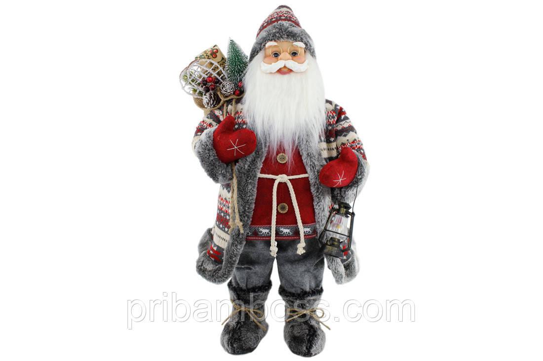 Мягкая игрушка Санта 60см, цвет - красный с серым