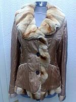 Куртка парка пехора женская натуральная с меховым воланом золотистая (курточка), фото 1