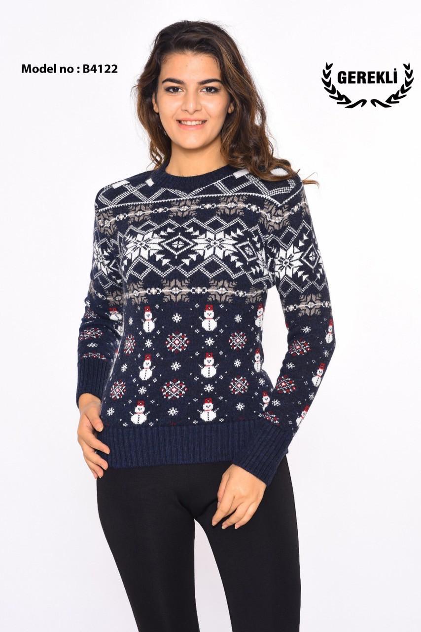 Новогодний женский свитер со снеговиками Gerekli 4122 (в расцветках 42-46)