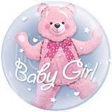 """Кулька Bubble 24"""" Baby Girl з кулькою ведмедиком Китай упаковка, фото 2"""