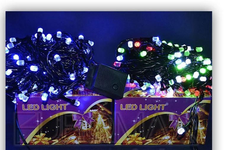 Гирлянда черный провод лампа Рубинка большая 500LED (белый)  LED500W-8