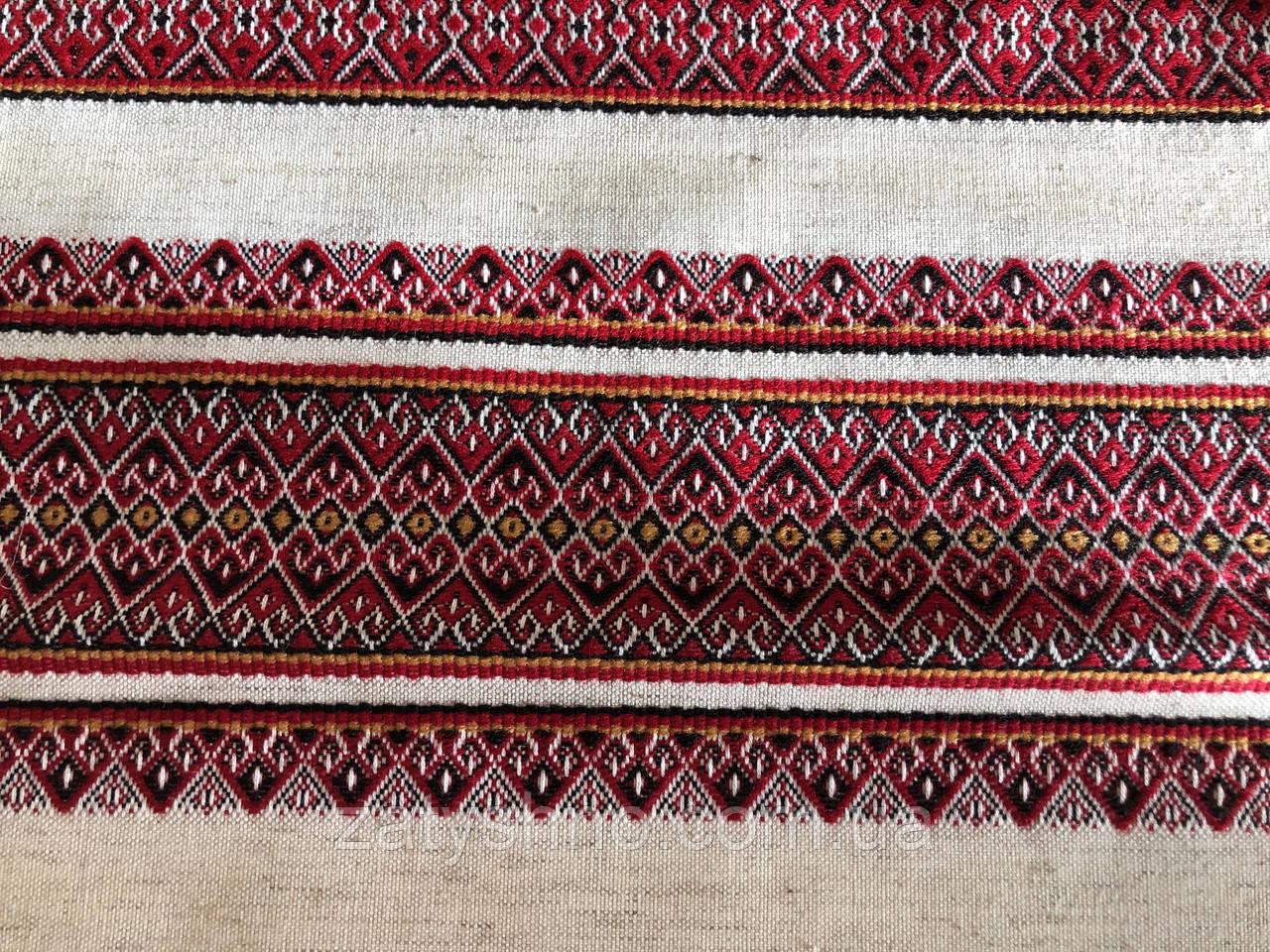 Бордова вишита скатертина на льоні з серветками 6 штук