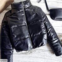 Женская куртка модная из эко-кожи на синтепоне (Норма)