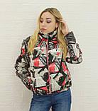 Женская модная короткая куртка с принтом газетки, фото 3