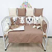 Комплект бортиков и постельного в кроватку с игрушками и облаком в карамельно-молочных тонах