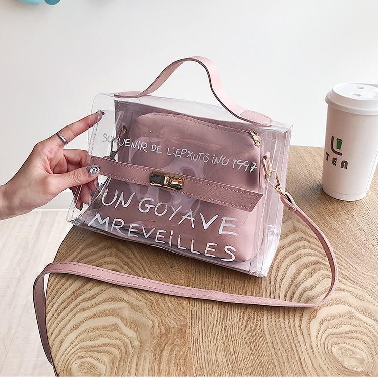 Прозрачная сумка с косметичкой Эрика 2в1, Силиконовый клатч с надписью, Женские мини сумки Опт 2020 FS-3630-30