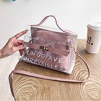 Прозрачная сумка с косметичкой Эрика 2в1, Силиконовый клатч с надписью, Женские мини сумки Опт 2020 FS-3630-30, фото 1