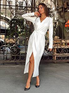 Длинное женское платье на запах с разрезом 42-44 р