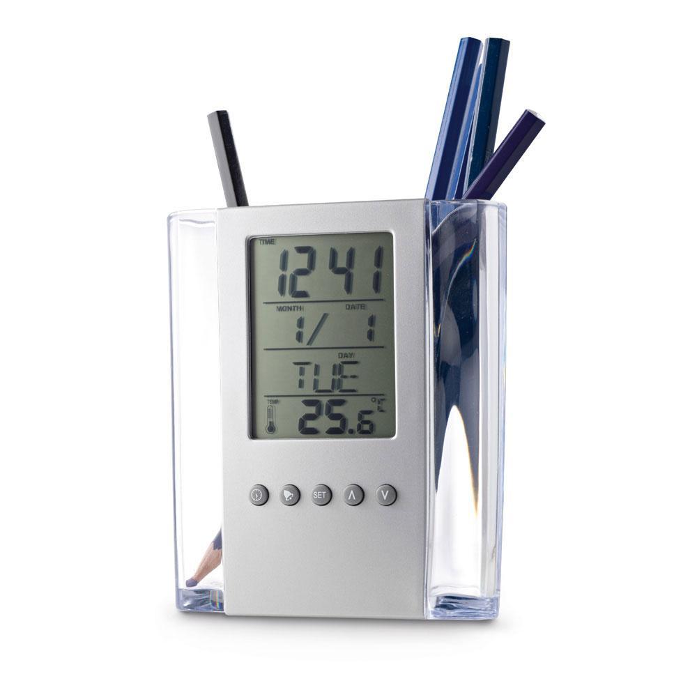 Подставка для ручек с будильником, термометром, календарем