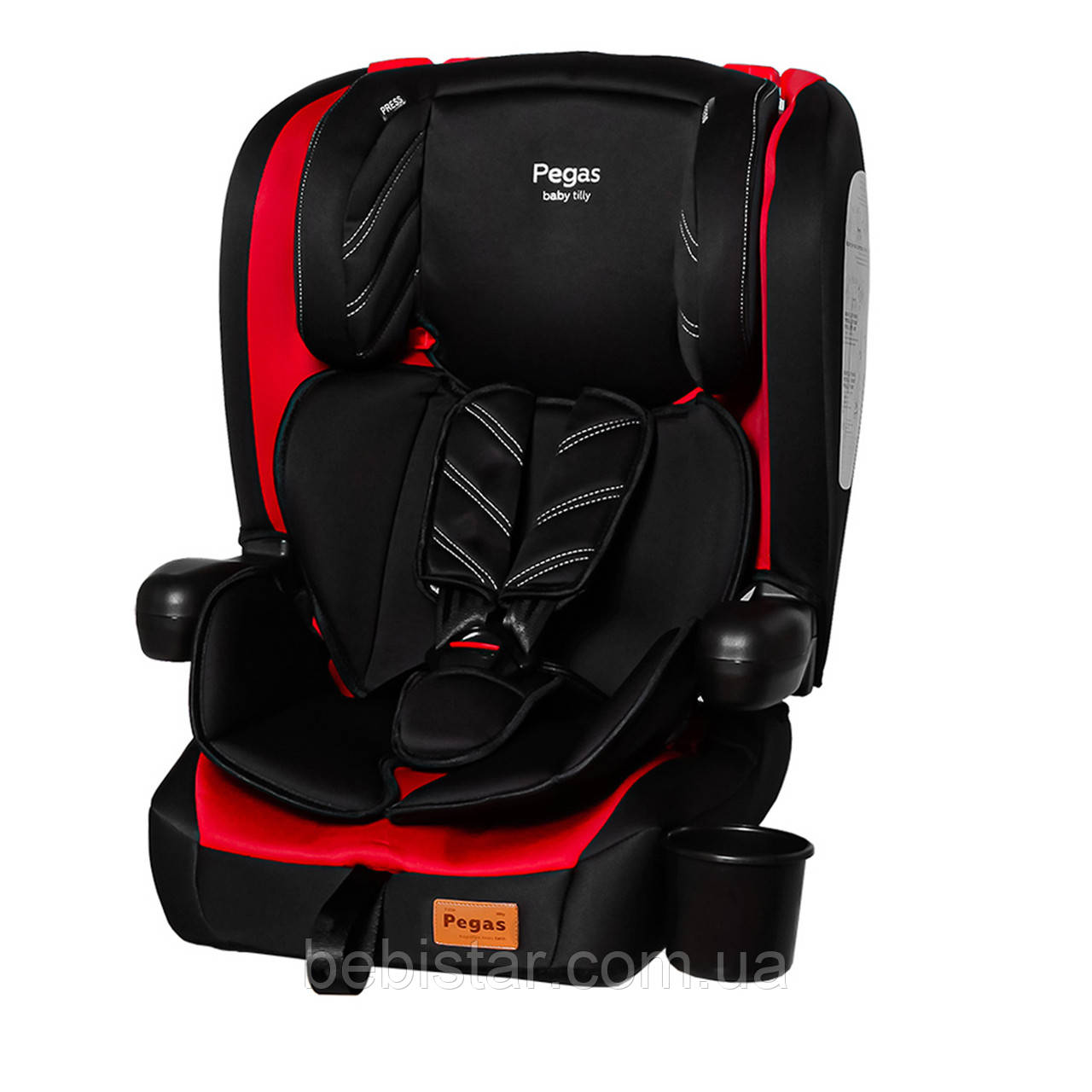 Детское автокресло черно-красное TILLY Pegas T-533 Red группа 1/2/3 от 9 кг до 36 кг детям от 1 до 12 лет