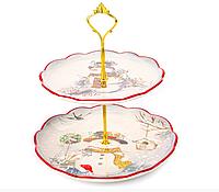 """Блюдо новогоднее керамическое двухярусное для пирожных """"Снеговик"""", 24,5 см"""