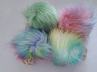 Пушистый брелок (помпон) разноцветный