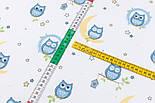 "Лоскут фланели ""Голубые совушки на луне"" фон - белый, размер 39*120  см, фото 3"