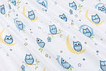 "Лоскут фланели ""Голубые совушки на луне"" фон - белый, размер 39*120  см, фото 6"