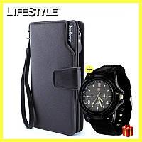 Кожаный мужской кошелек Baellerry Business + часы Swiss Army в Подарок