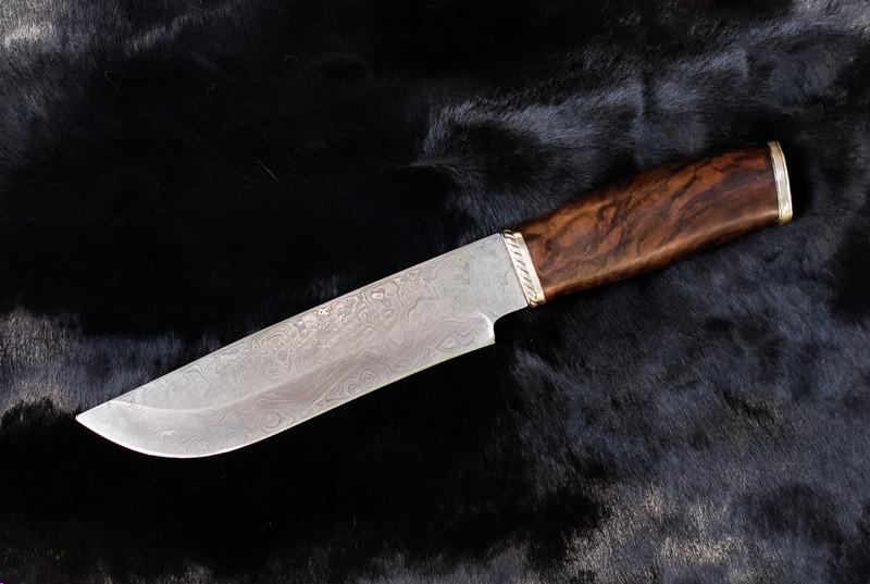 """Охотничий нож ручной работы """"Лещина"""", дамаск (285мм)"""