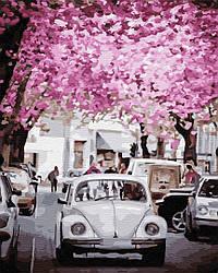 """Картина по номерам """"В городе весна"""" Сложность: 4 (Авто, автомобиль, машина, ретро)"""