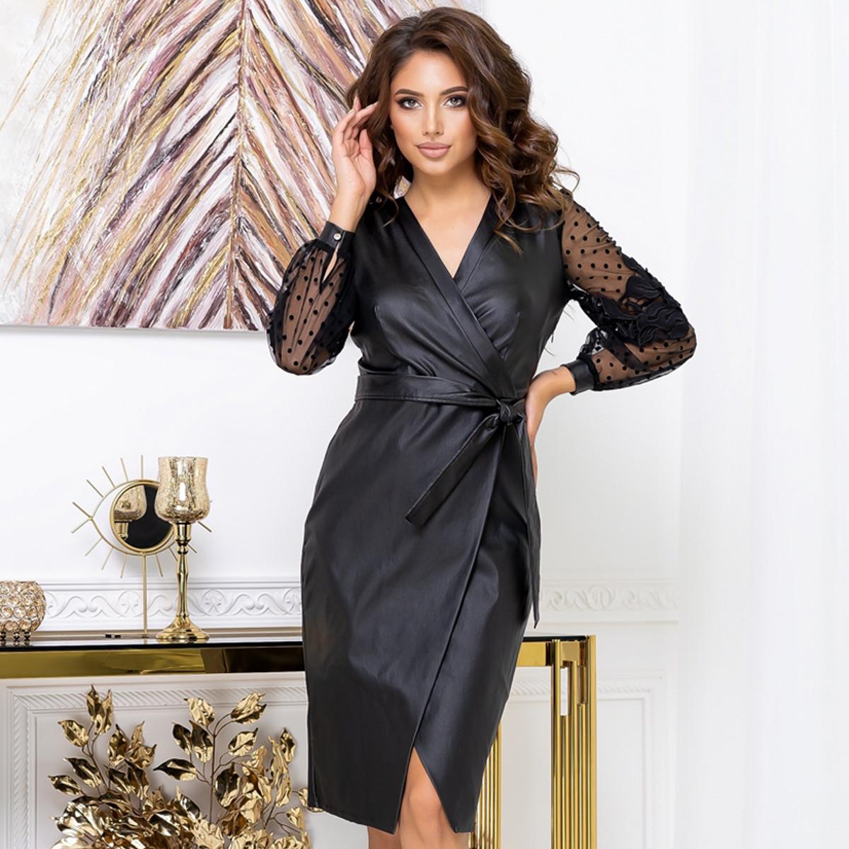 """Женское платье из эко-кожи черное модное """"SKIN"""""""