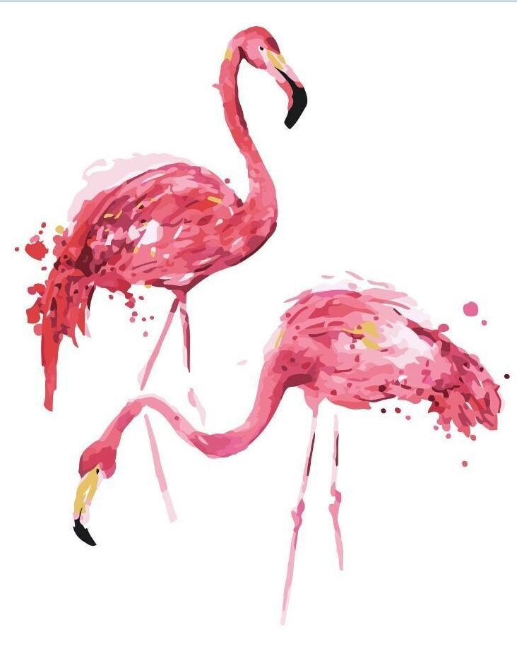 """Картина по номерам """"Фламинго"""" Сложность: 3 (фламинго, пара фламинго, розовые птицы, красочные фламинго,"""