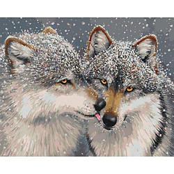 """Картина по номерам """"Нежное чувство"""" Идейка 4025 (волк, пара волков, серый волк, волчица)"""