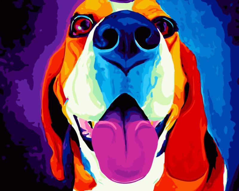"""Картина по номерам """"Песик"""" Сложность: 3 (яркий пес, собака, собачья улыбка, собачий носик, милый песик)"""