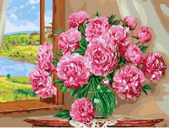 """Картина по номерам """"Яркие пионы"""" Сложность: 4 (цветочный натюрморт, цветы на окне, Ваза с цветами, Ваза с"""
