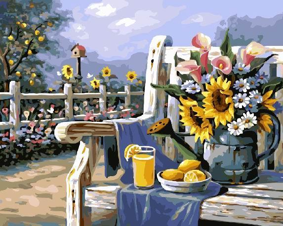 """Картина по номерам """"Утро в саду"""" Сложность: 1 (летный сад, завтрак на веранде, завтрак на терассе, красивый"""
