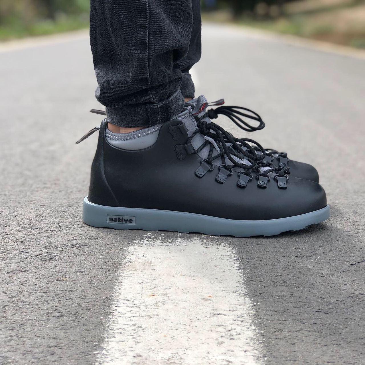 Мужские зимние ботинки Native FITZSIMMONS Black Grey / Нейтив Фитсимонс Черные Серые