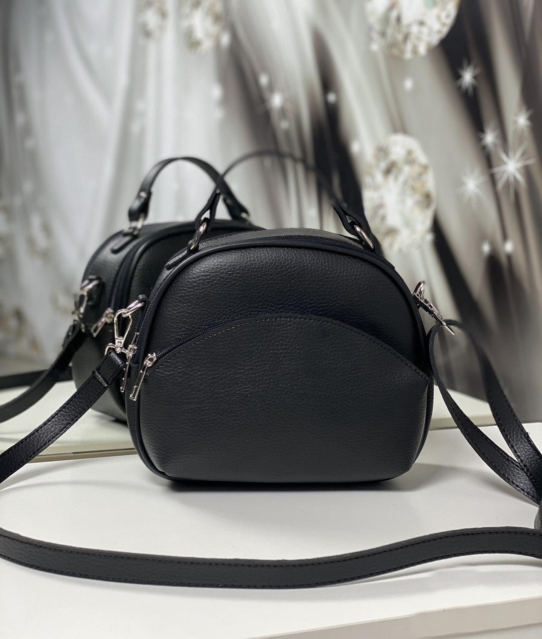 Полукруглая сумка через плечо небольшая женская стильная сумочка кроссбоди черная кожзам