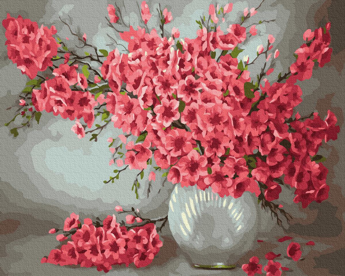 """Картина по номерам """"Ваза с цветами"""" Сложность: 1 (Цветы, Ваза, Букет, Распустившаяся сакура, Лепестки на"""