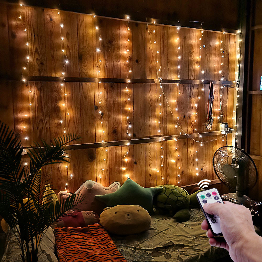 Гирлянда Штора Светодиодная Проволока Роса 300 LED, с Пультом, 3х3м